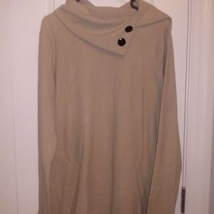Tan long sleeve with black buttons